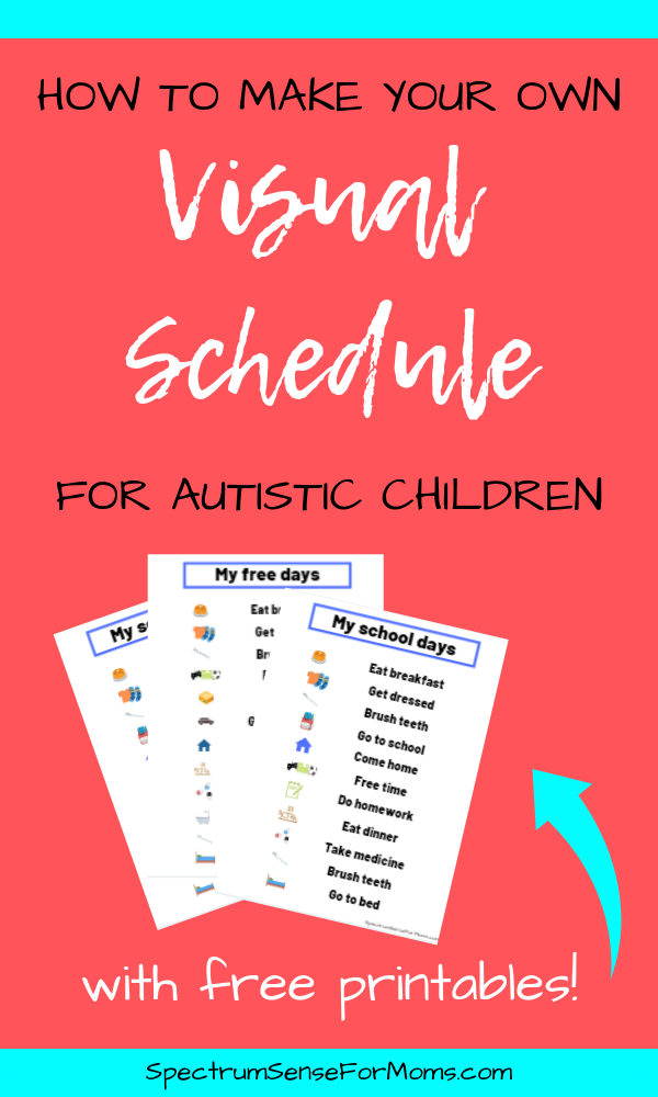 This is just what I needed to finally get into the habit of using a visual schedule for autism! The free download includes 3 daily visual schedules to get you started, and the article explains how to make your own, and discusses the benefits of using visual aids for autism. #autism #visualschedule #visualaids #autismtherapy #spectrumsenseformoms