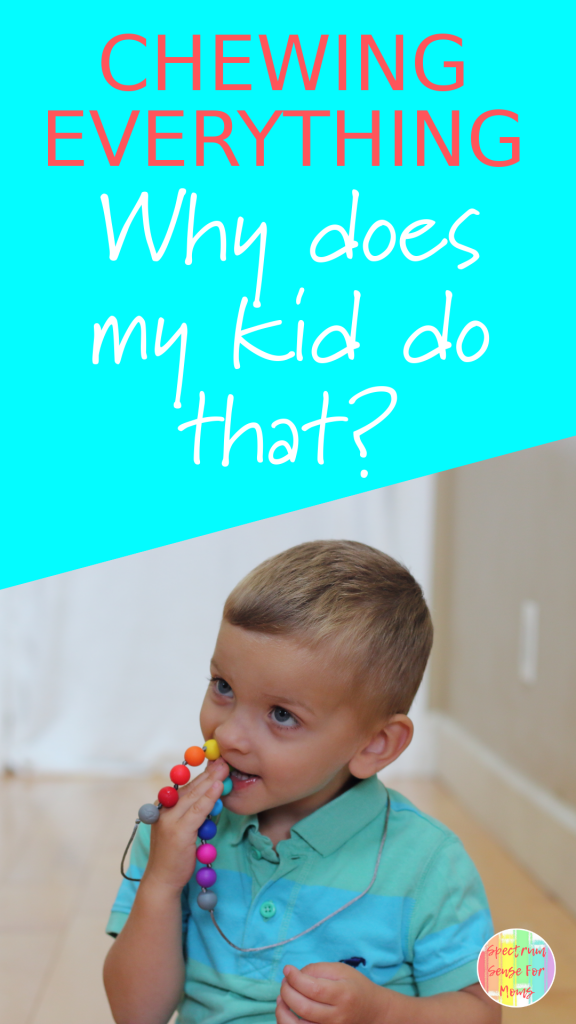 I was wondering what made my child constantly chew on everything! His oral fixation was driving me nuts! I had no idea that this was a sign of proprioceptive dysfunction. Since he's started doing these activities to improve his proprioception, his behaviors have dramatically improved! #autism