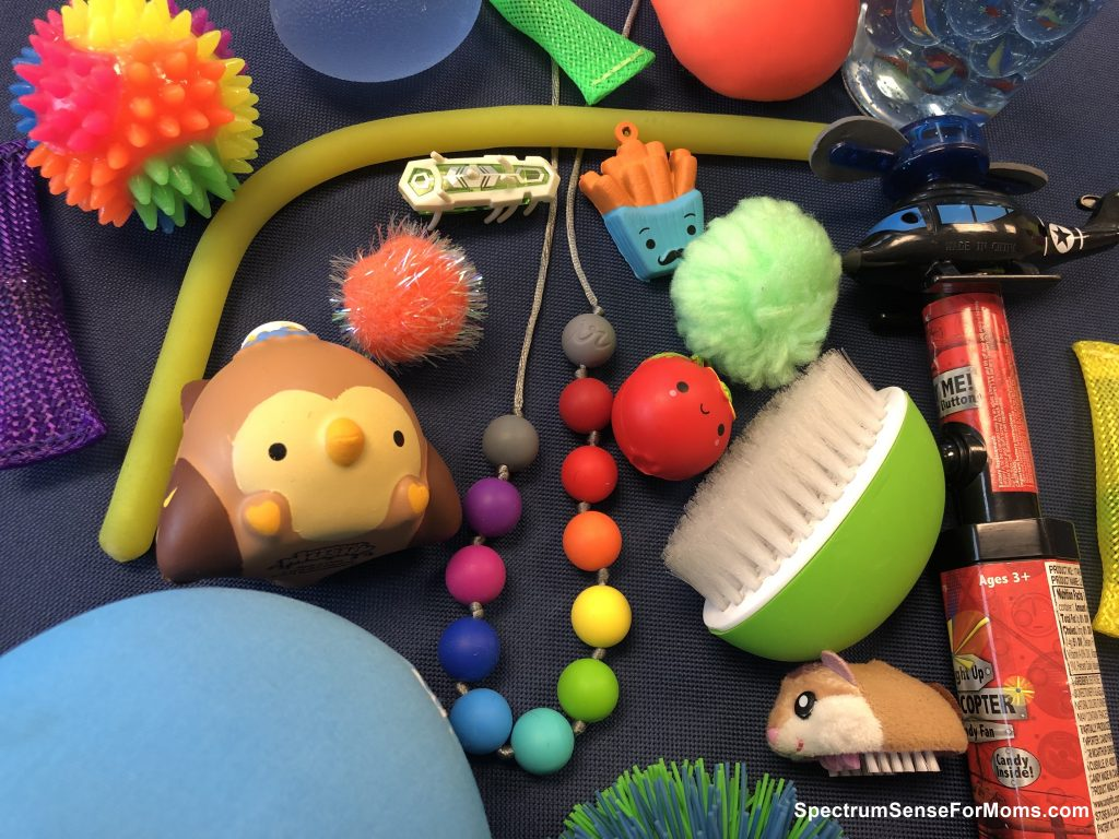 Calm down bin sensory toys in sensory room for autism