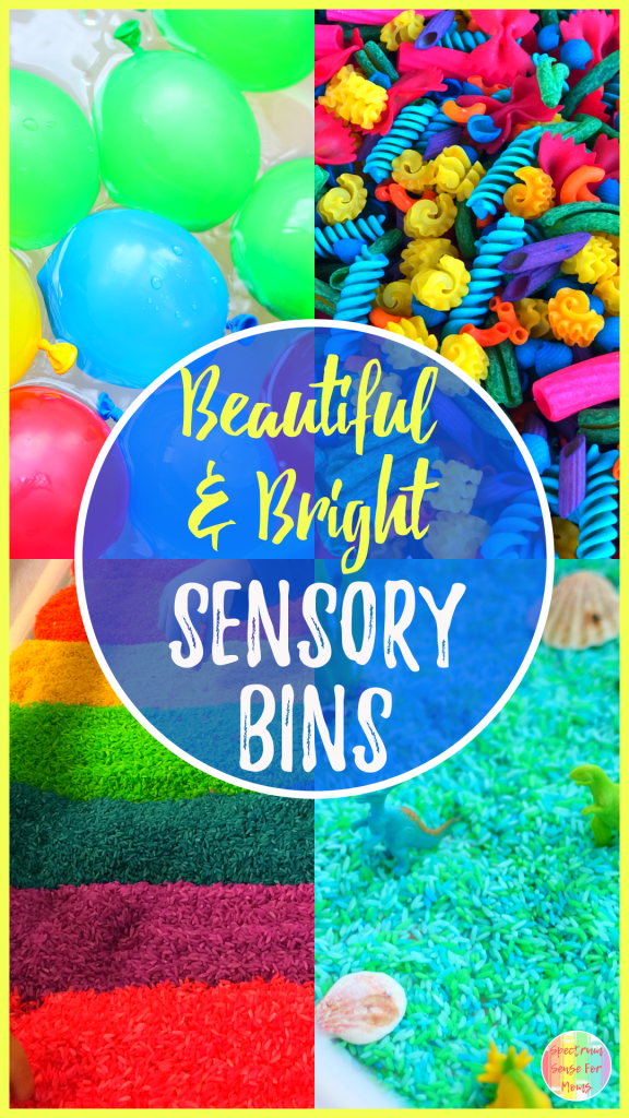 These sensory bins are so beautiful! My boys love the rainbow sensory bins and bright colors. With all of these different sensory bin fillers, and different textures, your kids are sure to get the sensory input they are seeking!