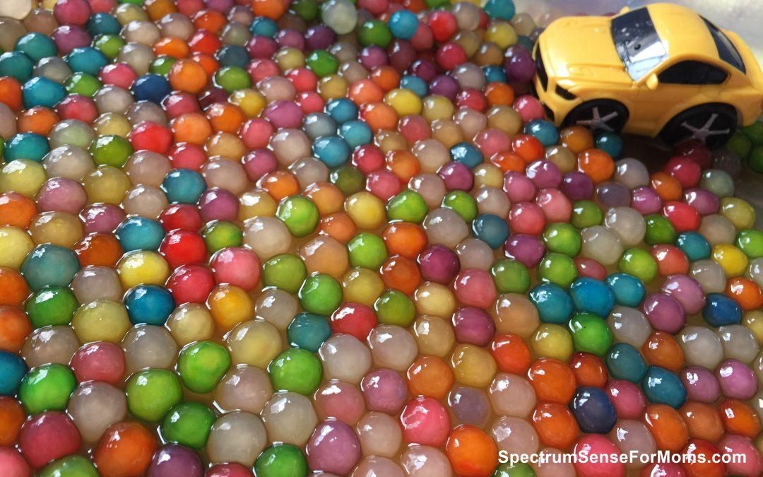 Beautiful Colored Sensory Bins for Autism